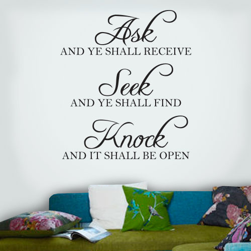 View Product Ask Seek Knock Wall Decal