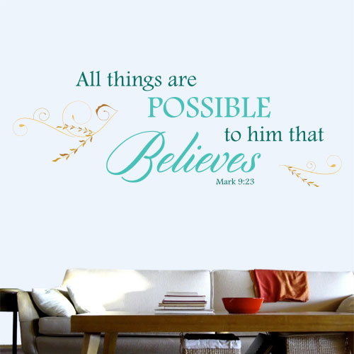 View Product All Things Are Possible To Him Wall Decal