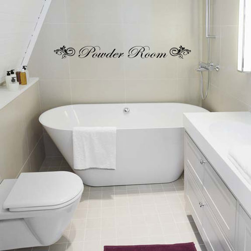 View Product Powder Room Sign Wall Decal
