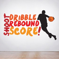 Dribble Shoot Rebound Score Wall Decal