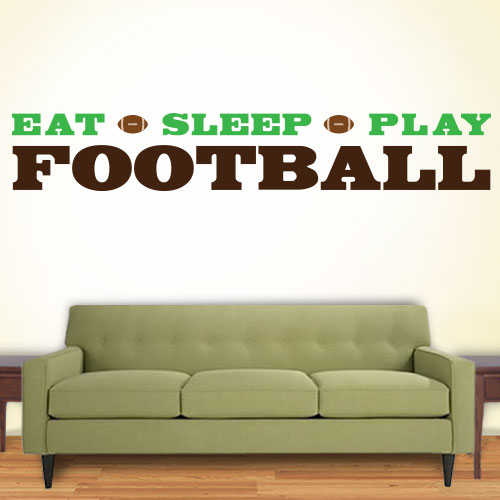 View Product Eat Sleep Play Football Wall Decal