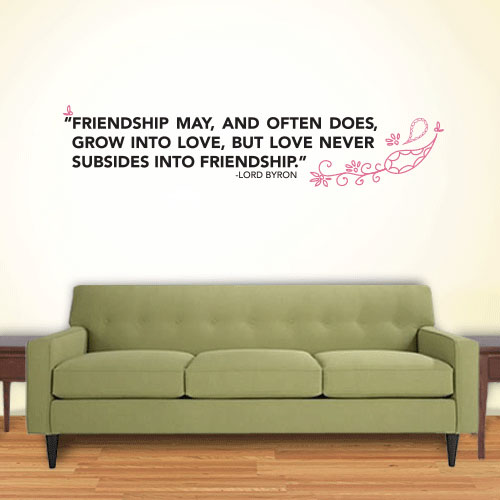 View Product Friendship Love Subsides Wall Decal