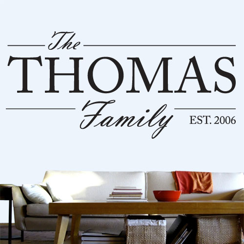 View Product Customizable Family Name Wall Decal