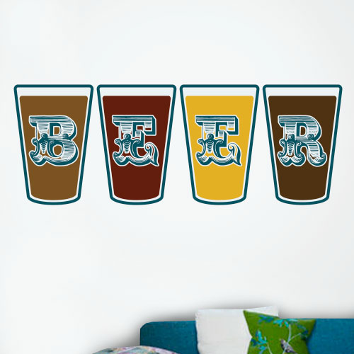 View Product Beer Glasses Wall Decal