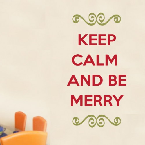 View Product Keep Calm And Be Merry Wall Decal