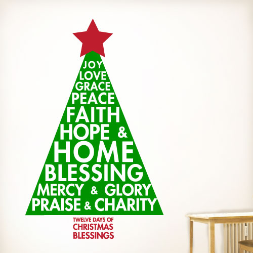 View Product Twelve Christmas Blessings Wall Decal