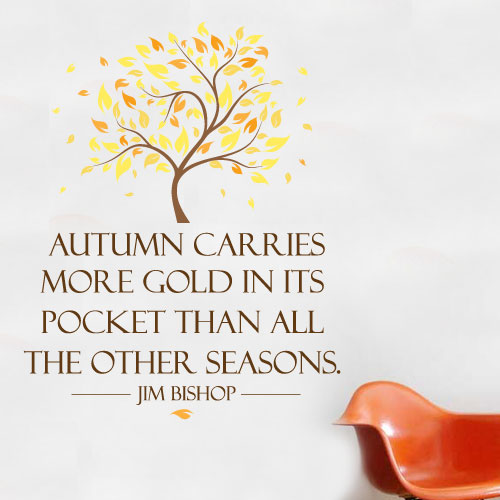 View Product Autumn Carries More Gold Wall Decal