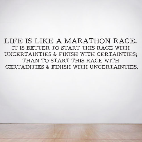 View Product Life is like a marathon race Wall Decal