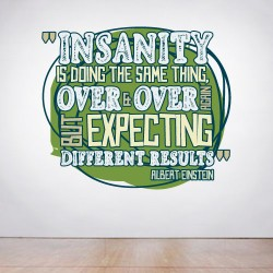 Insanity is doing the same thing twice Wall Decal