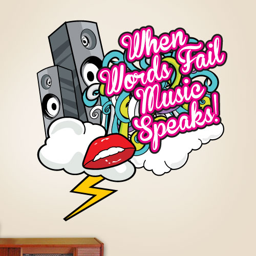 View Product When Words Fail Music Speaks Wall Decal